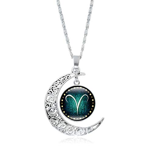 (vmree Woman The Zodiac Glass Dome Moon Pendant Necklace Twelve Constellations Charm Collarbone Chain Ideal Jewelry Gift Clothing Accessories (Aries) )