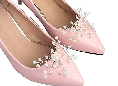 2PCS Handmade Pearl Flower Shoe Clips Bridal Wedding Shoes Decoration Charms Party Shoe Buckle by Fodattm