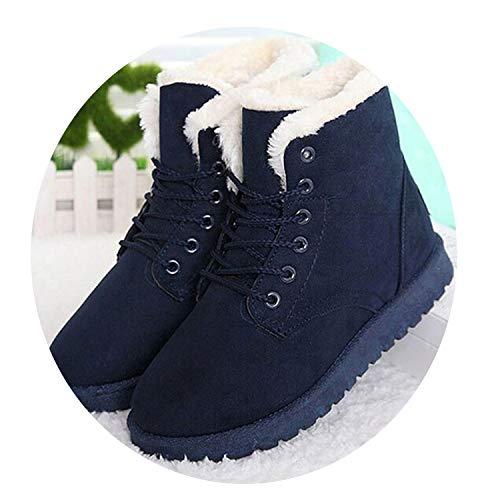 Secret-shop Women Boots Warm Winter Boots Female Fashion Women Shoes Faux Suede Ankle Boots for Women,Blue,9.5