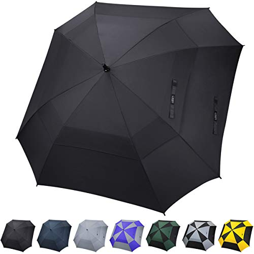 G4Free Extra Large Golf Umbrella Double Canopy Vented Square Umbrella Windproof Automatic Open 62 Inch Oversize Stick Umbrella for Men -