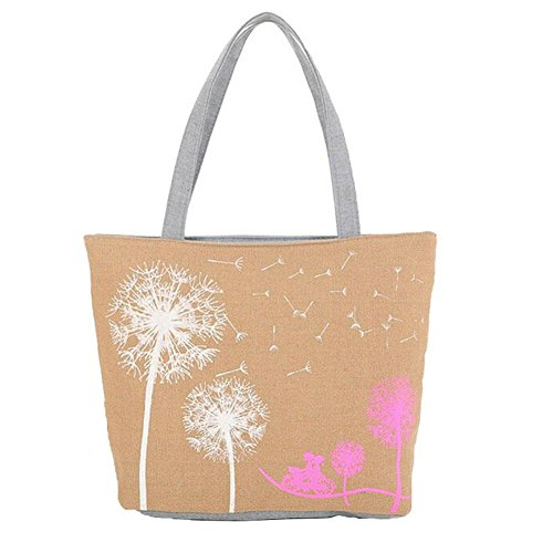 Portafoglio cerniera wlgreatsp beauty Dandelion borsa a Tela Vin Beige Adatti della borsa Donna xqR0H5wdX