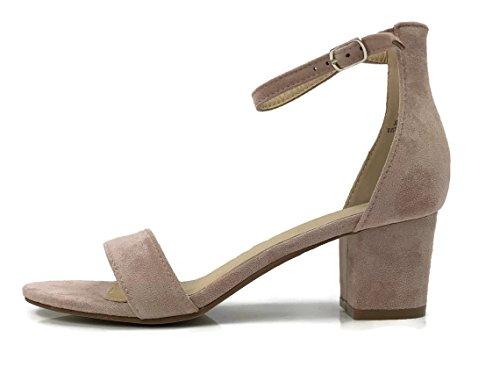 Bella Marie Donna Strappy Open Toe Sandalo Con Tacco A Tacco Rosa Polveroso