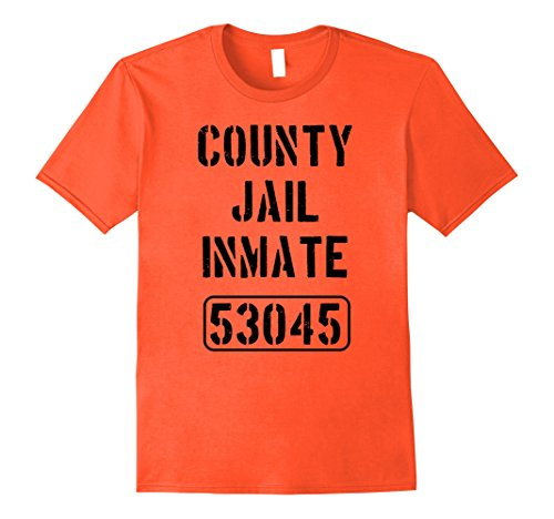 County Jail Inmate Costume (Mens County Jail Inmate Shirt | Jail Break Teeshirt XL Orange)
