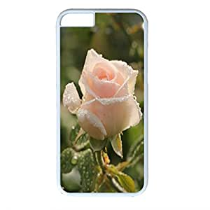 iPhone 6 case ,fashion durable white side design phone case, pc material phone cover ,with pink flower picture.