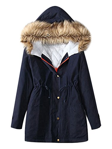 Playworld Womens Hooded Warm Coats Parkas With Faux Fur Jackets, Blue, Large (Hooded Parka Fur)