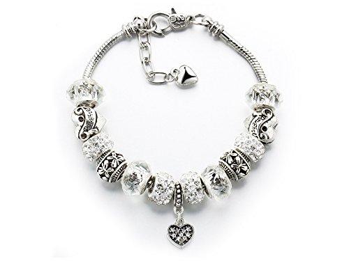 Crystal Bracelet Silver Sterling (Ashliana Vintage Carved Handmade Glass and Swarovski Elements Crystal Sterling Silver Plated Charm Bracelets in Gift Box (Silver))