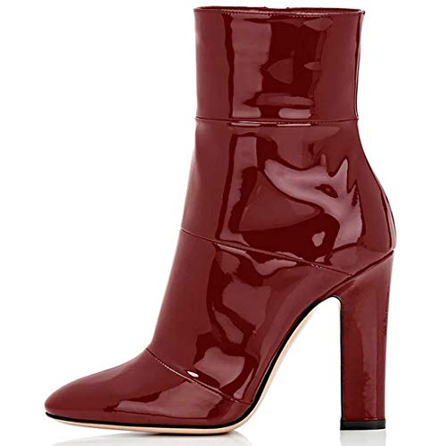 Cuir Bottines Talons Cm Femme Hauts pu 12 Jushee Bottes Chaussures Boots Rouge nRqOW00F