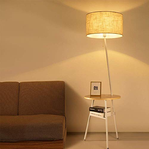 Wellmet Modern Tripod Floor Lamp with Wooden Shelves, Wood Floor Light with Table and USB Ports,Bedside Table for Bedroom- End Table for Living Room Sofa- Reading Light for Relax ()