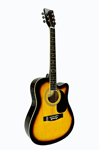 Full Size SUNBURST Acoustic Electric Guitar Cutaway with 3 EQ, & DirectlyCheap(TM) Translucent Blue Medium Guitar - Acoustic Sunburst