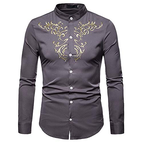Price comparison product image Sale! Teresamoon Men's Autumn Winter Luxury Casual Gold Embroidery Long Sleeve Shirt Top Blouse