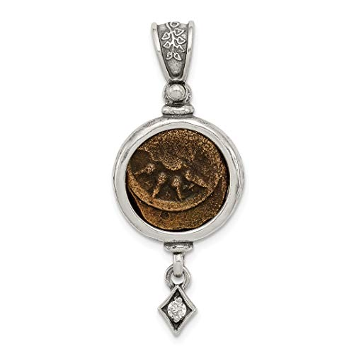 ing Silver Widows Mite Coin Cubic Zirconia Cz Dangle Pendant Charm Necklace Holders/bezel Bezel W/coin Fine Jewelry Ideal Gifts For Women Gift Set From Heart ()