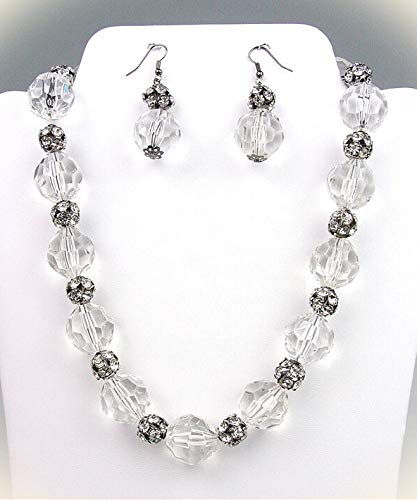 Bejeweled Clear Lucite Crystals Rhinestone Balls Necklace Earrings Set For Women