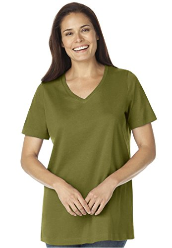 Women's Plus Size Top, In Soft Knit, The Perfect Cotton V-Neck Tee (Moss Green,2X)