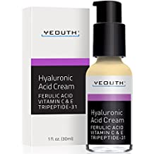 Hyaluronic Acid Cream Face Moisturizer for Dry Skin, Anti Aging Face Cream, Anti Wrinkle, Pore Minimizer, Even Skin Tone with Vitamin C, Vitamin E, Ferulic Acid, Tripeptide 31 - YEOUTH Guaranteed