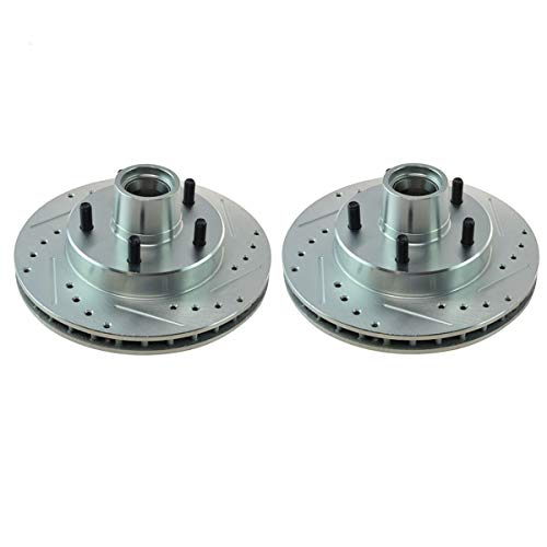 Detroit Axle - FRONT Drilled and Slotted Brake Rotors For - 1994-1996 Ford F-150 Lightning w/Rear Wheel ABS - [1994-2001 Ford E-150 w/Rear Wheel ABS]