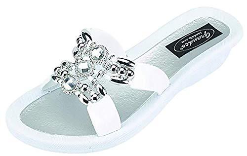 Grandco Womens Lady Q Slide Jeweled Sandal (10, White)