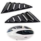 iJDMTOY Left/Right Black Finish Racing Style Rear Side Window Scoop Air Vent/Louver Shades Compatible With 2016-up Chevy Camaro