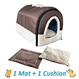 ANPPEX Igloo Dog House, Portable Cat Igloo Bed with 2 Removable Cushions, 2 in 1 Washable Cozy Dog Igloo Bed Cat Cave, Foldable Non-Slip Warm for Pets Puppy Kitten Rabbit