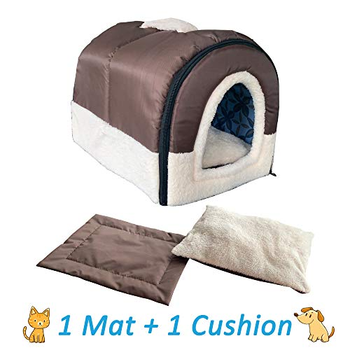 ANPPEX Igloo Dog House, Portable Cat Igloo Bed with 2 Removable Cushions, 2 in 1 Washable Cozy Dog Igloo Bed Cat Cave…