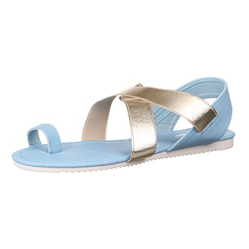 Ital-Design - Sandalias de vestir de Material Sintético para mujer Azul - Blau Gold