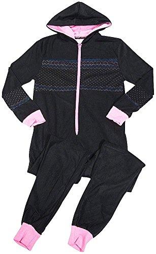 B O P J Ladies Fair Isle Geo Sweater Knit Cozy Hooded Micro Fleece Sleep Onesie PJ, Black 38706-X-Large