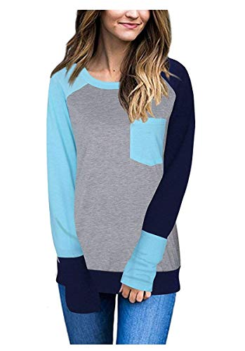 Redondo Para Claro Azul Camiseta Sin L Tamaño Color Manga color De Mangas Larga Zhrui Cuello Mujer Blusa Con 6CZw6tYq
