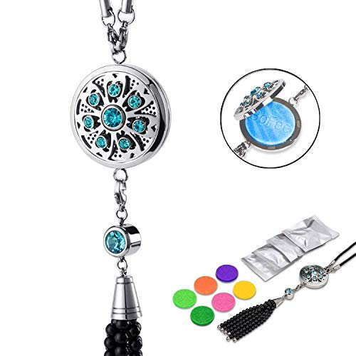 Bofee Car Crystal Charm Aromatherapy Diffuser Essential Oil Fragrance Air Freshener Hanging Diffuser Air Purifier Pendant Car Charms for Rear View Mirror