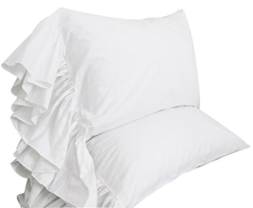 Price comparison product image Queen's House White Ruffles Bed Sheets Set Cotton Queen Size Sheets-Style G