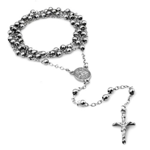 (Stainless Steel Rosary Bead Necklace with Cross, 28