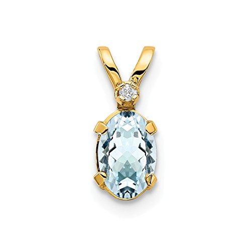 (14k Yellow Gold Diamond Blue Aquamarine Birthstone Pendant Charm Necklace March Oval Fine Jewelry For Women Gift Set)