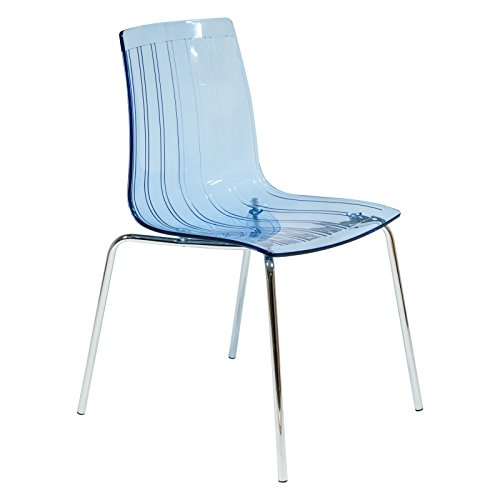 LeisureMod Ralph Mid-Century Dining Chair with Chrome Base in Transparent Blue (Lucite Blue Chairs)