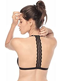Women Sexy Wireless Strappy Bra Adjustable Front Closure Unpadded Bralette with Lace T Back Racerback Bras