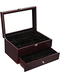 Mens Wooden Watch Box 10 Slots Jewelry Organizer Storage Case with Real Glass Top UJOW02Z