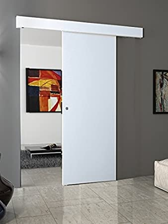 Porta scorrevole esterno muro BIANCO completa di binario e mantovana  (60x210) (con maniglietta Cromo satinato)