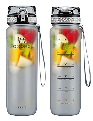 OMORC Sports Water Bottle with time marker-32oz, Fruit Infuser BPA Free Tritan Plastic Drinking Bottle with Locking Flip Lid, One-Handed Open Fitness Workout Water Bottle with Filter