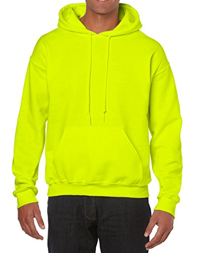 Gildan Men's Heavy Blend Fleece Hooded Sweatshirt G18500, Safety Green, Large