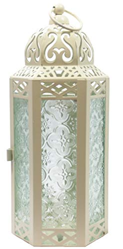 - Vela Lanterns Moroccan Style Candle Lantern, Medium, Clear Glass, Cream Color