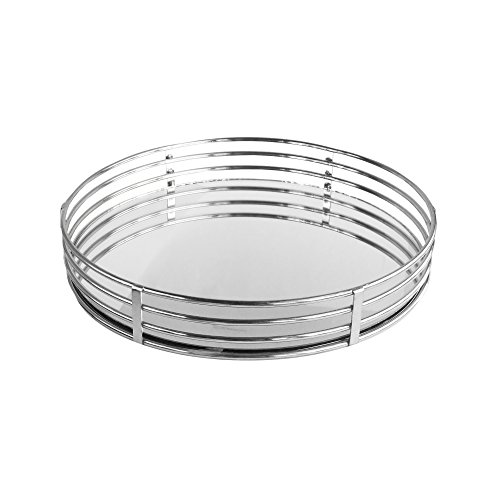 American Atelier Circle Glass Tray-Silver, Silver (Circle Mirror Tray)