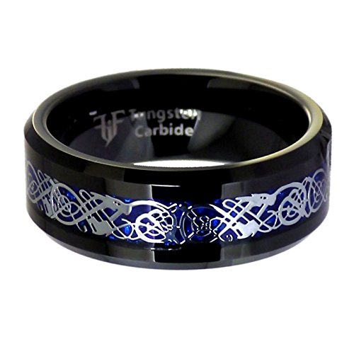 Fantasy Forge Jewelry Black Tungsten Blue Carbon Fiber Celtic Dragon Ring Mens Womens 8mm Wedding Band Size ()