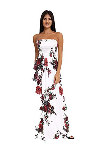 Loxdonz Women's Floral Maxi Dresses Plus Size Tube Top Long Shirring Sundress Cover Up (Small, Red Floral)