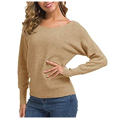 Feiersi Women's Off Shoulder Sweater Long Sleeve Loose Pullover Knit Jumper at Women's Clothing store