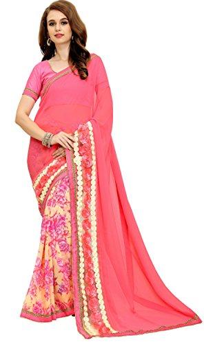 Women's Patch Work faux Georgette Designer Saree for women , Sarees, Sari , Indian Wedding Gift (Pink 1)