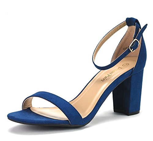 DREAM PAIRS Women's Chunk Navy Suede Low Heel Pump Sandals - 5 M US