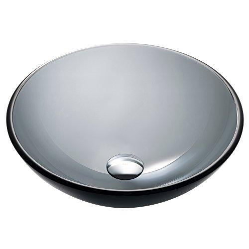 Kraus GV-104-14 Clear Black 14 inch Glass Vessel Bathroom Sink