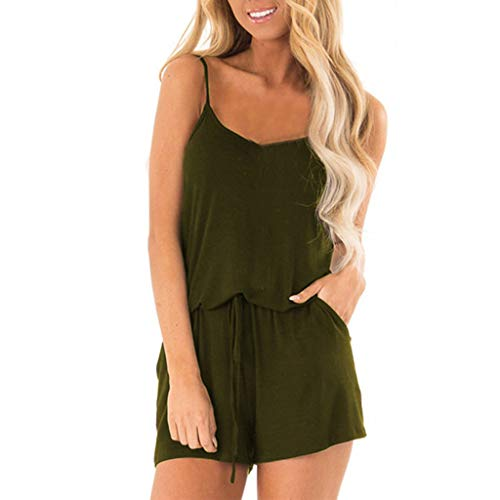 (Ladies Slings Shorts Round Neck Sleeveless Belt Drawstring Short Loose Summer Beach Jumpsuit MEEYA Green)