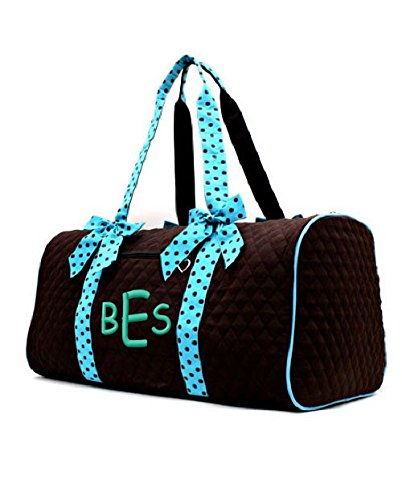 Personalized Quilted Solid Duffel Bag (Brown-Turquoise)
