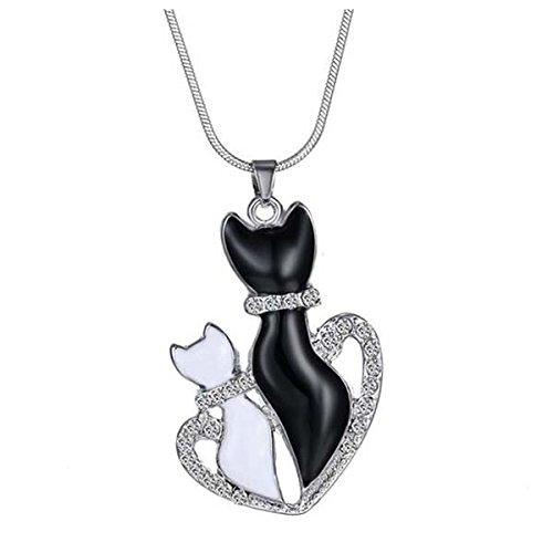 SODIAL Collar de Cadena de Pendiente de Gatos Negros y ...