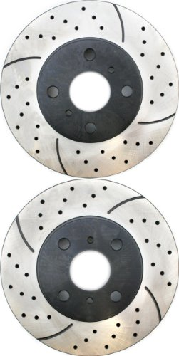 Prime Choice Auto Parts PR41334LR Drilled and Slotted Performance Rotor Pair for Front