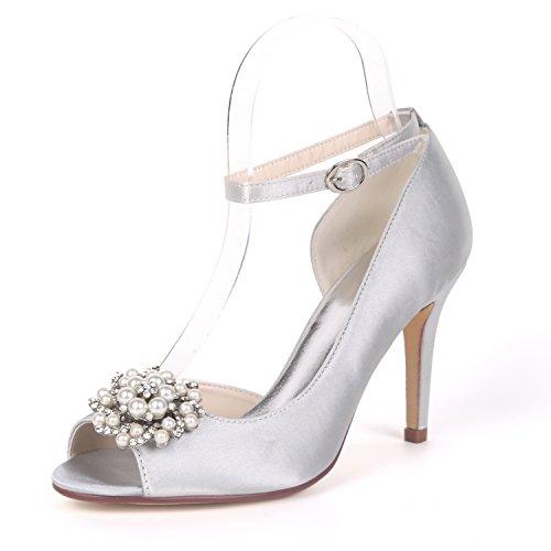 16BZ Toe Donna Sposa Strass Ager Peep Satin Silver Y5623 Flower Nuziale Scarpe Cerimonia Da YqEwaw