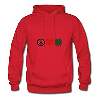 X-large Women Peaceloveclover Diatinguish Designed Red Cotton Hoody